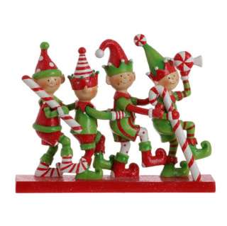 RAZ Imports GJ 6 inch Candy Elf Christmas Ornaments set of 5 Claydough