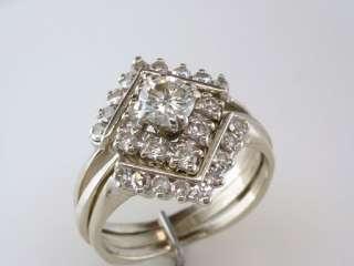 Deco Genuine Diamond 1.25ct 14K White Gold Engagement Wedding Ring Set