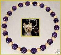 Amethyst Goldfill Bead Necklace Collar Pet Dog Jewelry