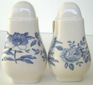 Salt Pepper Shakers Peony Blue Stoke on Trent England
