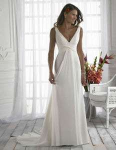 New Hot 2012 white/ivory Beach Chiffon Wedding Bridal Prom Evening