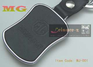 Style MG Logo Black Leather Keychain Key Ring Chain