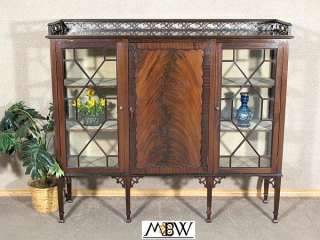 ANTIQUE English Flame MAHOGANY CURIO Display CABINET w/ BOOKCASE c1920