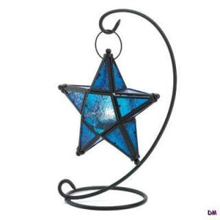 10 Sapphire Blue Star Lantersn on Matte Black Swirl Stands Wedding