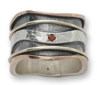 925 sterling SILVER & 9K rose GOLD spinner spinning motion RING with