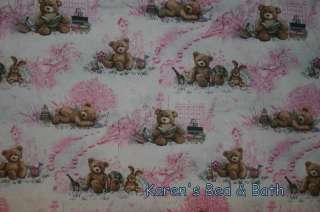 Brown Teddy Bear Pink Toile Nursery Curtain Valance NEW
