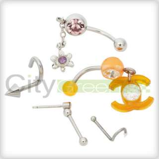 Professional Stainless Steel Body Piercing Tools Kit 7pcs With Jewelry