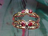 Inlaid VVS Clean RUBY Heavy 14kt Gold Ring Guard