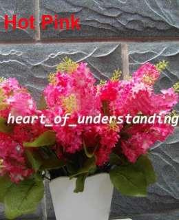 1X 36cm/14 Artificial Silk Lilacs Hot Pink Flower Bouquet Wedding