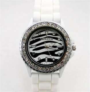 lady men boy girl Silicon Sport Quartz diamond wrist watch DD1