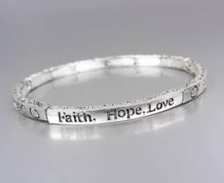 INSPIRATIONAL Faith Hope Love Hearts LOVE 4mm Thin Stretch Stackable