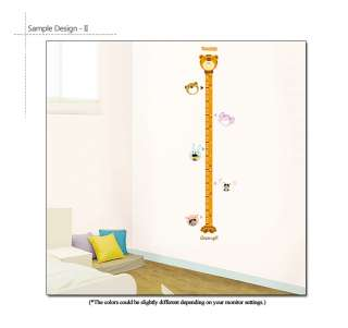 ANIMAL GROWTH CHART KIDS WALL STICKER REMOVABLE DECALS