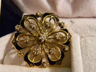 diamond pin, 14K yellow gold, floral, 40 points