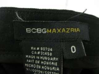 BCBG MAX AZRIA Black Cotton Straight Leg Pants Sz 0