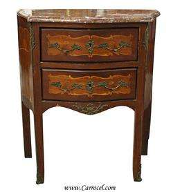 Antique Marble Top Louis XV Inlaid End Table Commode