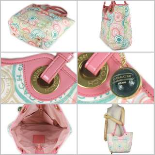 Beach Prin MuliColor oe Bag Purse Pasel Pink Canvas NW |