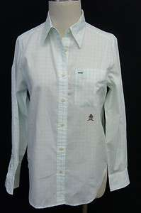Tommy Hilfiger Green & White Plaid Long Sleeve Button Down Blouse Sz 6