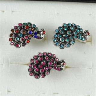 10pcs Silver Plated Cute Costume Cocktail Peacock Crystal Ring