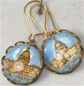 VTG REVERSE PAINT UNDER GLASS WASHINGTON DC EARRINGS