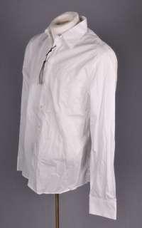 NWT GF FERRE Mens White Embroidered Dress Shirt M