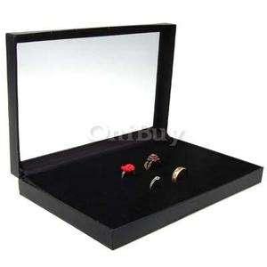 Black Jewelry Rings Storage Showcase Box Display Case Organizer 36