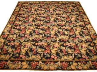8X10 ENGLISH GARDEN BLACK NEEDLE POINT RUG