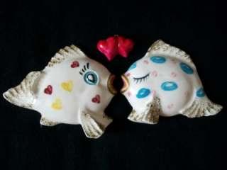 VINTAGE JAPAN HEART KISSING BOY GIRL FISH BUBBLE RARE CERAMIC WALL