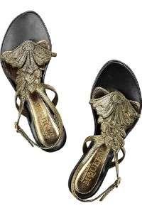 ALEXANDER MCQUEEN Metallic Leaf Thong Flat Sandal Shoe 36.5 NIB