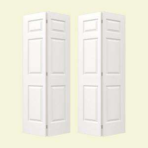 80 in. 6 Panel Molded Primed Bi Fold Door 05321 at The Home Depot