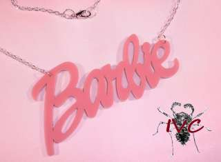 BARBIE SCRIPT NEW PINK NECKLACE PENDANT SIL CHN PUNK EMO DOLL