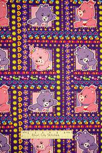 Care Bears Happy Day Heart Daisy Purple Fabric BTY