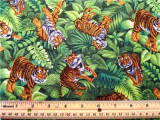 New African Jungle Animal Tiger Big Wild Cat Fabric BTY