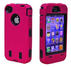 DELUXE HOT PINK HARD CASE COVER SILICONE SKIN FOR IPHONE 4 4G 4S 4TH