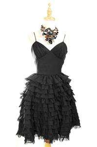 AUTH Betsey Johnson Tiered Taffeta Ruffle Cocktail Prom Dress Black 10