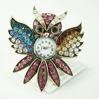 d901 Womens Tibet Silver Owl Rhinestone Crystal Adjustable Ring Watch