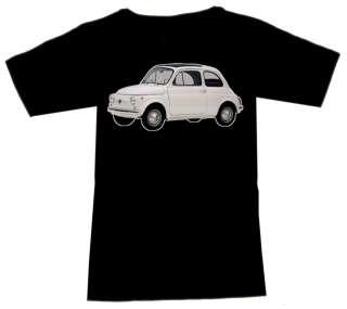 Shirt mit Oldtimer Motiv Fiat 500 weiss