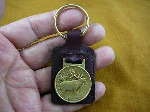 BRONZE Medallion LEATHER KEYCHAIN key chain RING Elk Wapiti buck deer