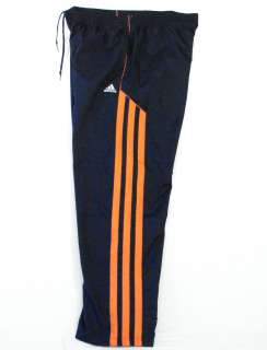 Adidas Signature Fat Stripes Lined Navy Blue & Orange Track Pants Mens