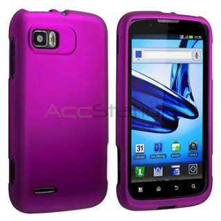 Purple Rubber Hard Shell Case Cover For Motorola Atrix 2 MB865 Phone