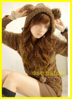 Colour Chic Womens Cute Bear Ear Fleece Hoodie Stretchy Top Coat