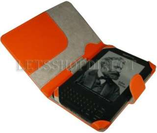 KINDLE 3 ORANGE LEATHER CASE COVER SLEEVE JACKET