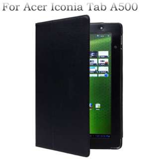 Black Leather Stand Case Cover for ACER ICONIA TAB A500