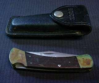 BUCK 110 SINGLE BLADE FOLDING KNIFE W/ LEATHER CASE SEE