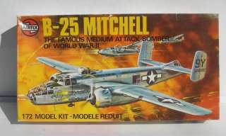 RARE AND VINTAGE 1975 AIRFIX 1/72 SCALE WWII USAAF NORTH AMERICAN B 25