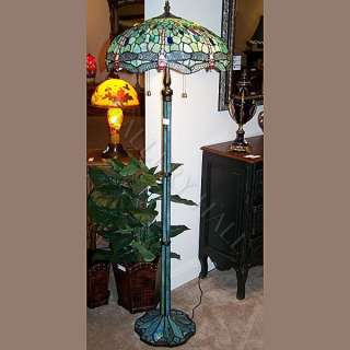 Stained Glass Blue Dragon Fly Floor Lamp Heavy Base