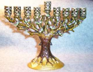 Brown Enamel Tree of Life~Star David~Hanukkah Menorah Candle Holder