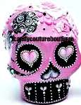 20 WATER SLIDE NAIL ART DECALS PINK BLACK SUGAR SKULL