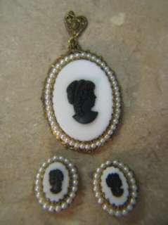Vintage WEST GERMANY Clip On Earrings & Pendant CAMEO SET BLACK