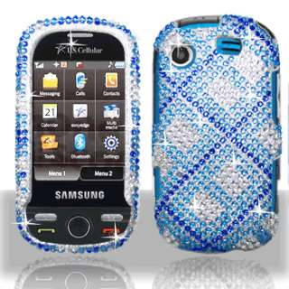 Blue Plaid Bling Case Samsung Messager Touch Accessory
