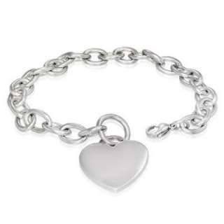 Stainless Steel Engravable Love Heart Charm Oval Link Bracelet